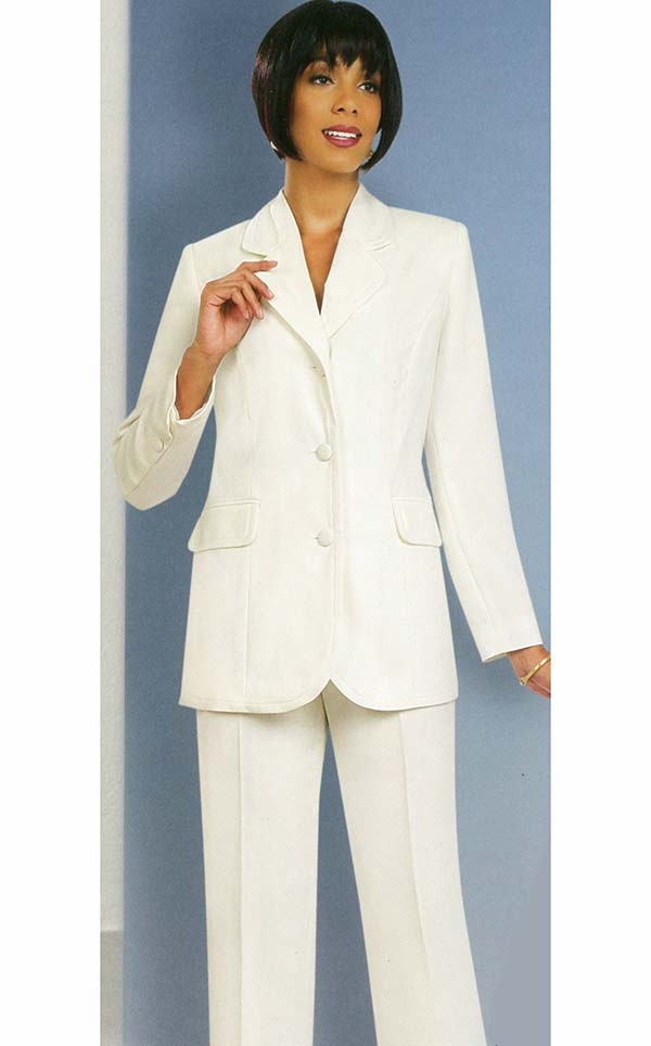 Ben Marc Executive 10495-Off White - Womens Uniform Pant Suit