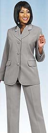 Ben Marc Executive 10495-Silver - Womens Uniform Pant Suit