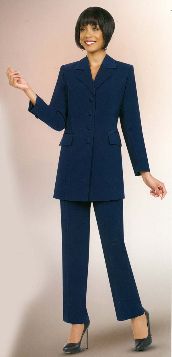 Ben Marc Executive 10496-Navy - Womens Pant Suit Business Uniform