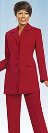 Ben Marc Executive 10496-Red - Womens Pant Suit Business Uniform