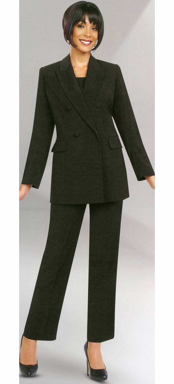 Ben Marc Executive 10498-Black - Double Breasted Pant Suit Uniform For Women