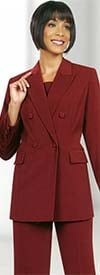 Ben Marc Executive 10498-Burgundy - Double Breasted Pant Suit Uniform For Women