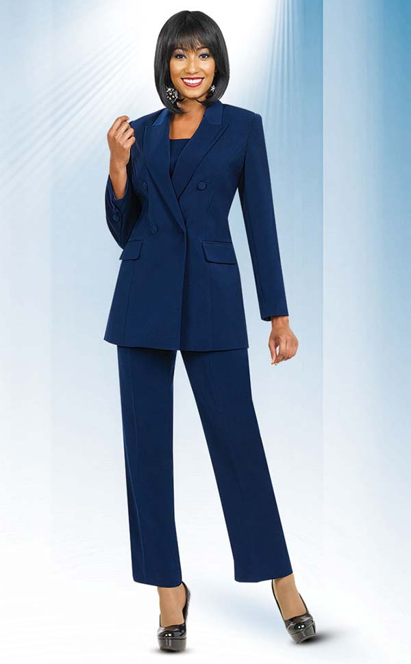 Ben Marc Executive 10498-Navy - Double Breasted Pant Suit Uniform For Women