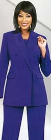 Ben Marc Executive 10498-Purple - Double Breasted Pant Suit Uniform For Women