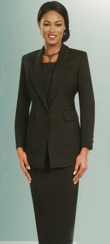 Ben Marc 2295-Black - Two Piece Notch Lapel Womens Suit