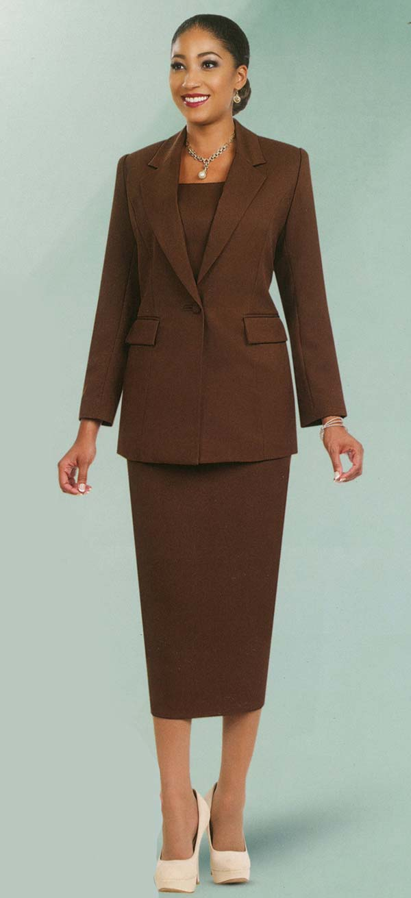Ben Marc 2295-Brown - Two Piece Notch Lapel Ladies Basic Suit