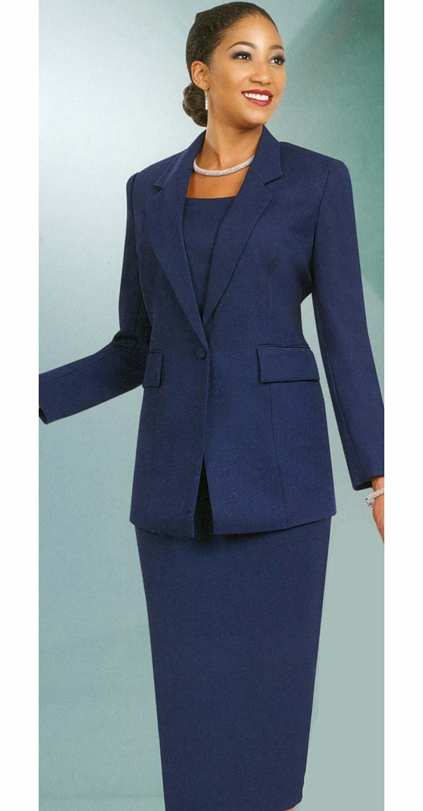 Ben Marc 2295-Navy - Two Piece Notch Lapel Womens Skirt Suit