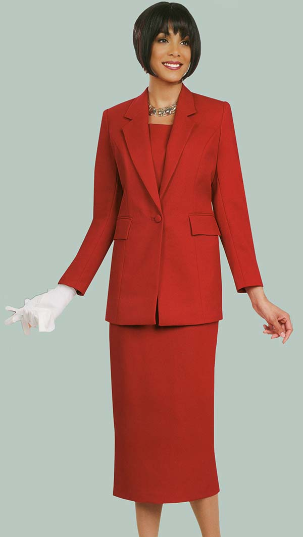 Ben Marc 2295-Red - Two Piece Notch Lapel Womens Suit