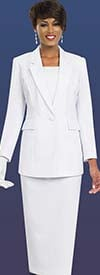 Ben Marc 2295-White - Two Piece Notch Lapel Womens Usher Style Suit
