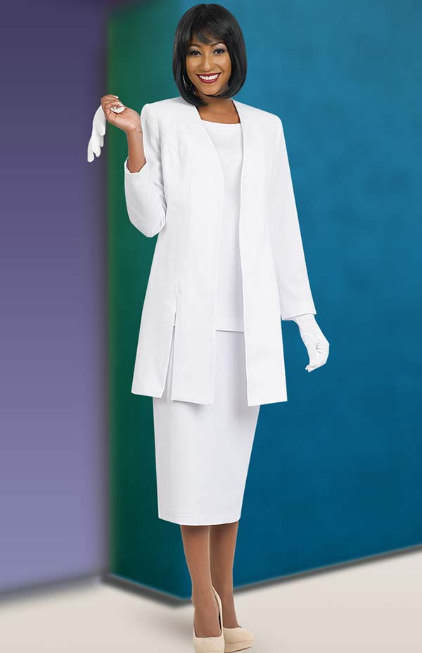 Ben Marc 2296-White - Ladies Suit With Vented Jacket
