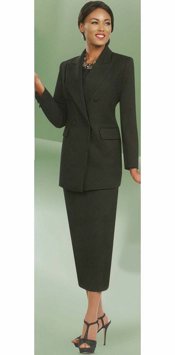 Ben Marc 2298-Black - Womens Double Breasted Suit