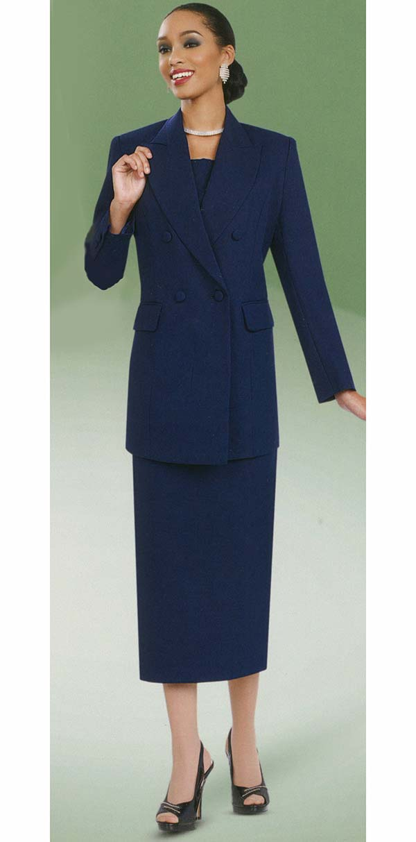 Ben Marc 2298-Navy - Womens Double Breasted Usher Style Suit