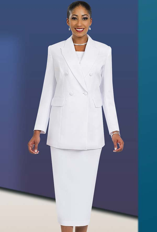 Ben Marc 2298-White - Womens Double Breasted Suit