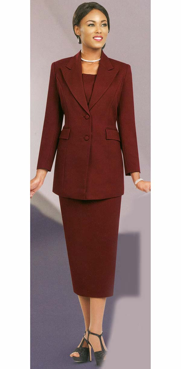 Ben Marc 2299-Burgundy - Suit With Peak Lapels