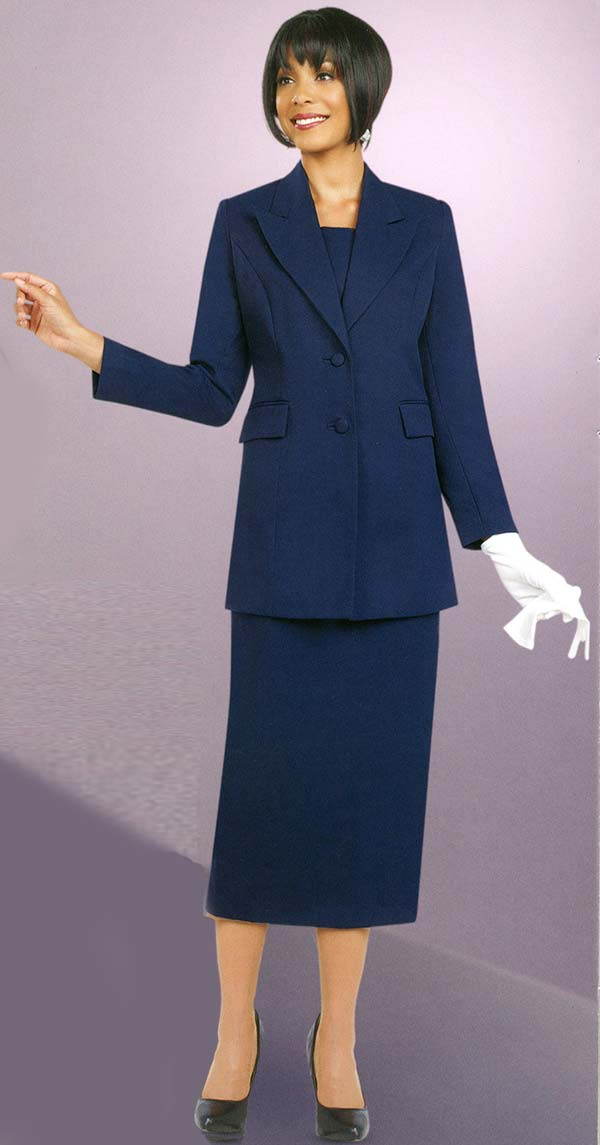 Ben Marc 2299-Navy - Womens Suit With Peak Lapels