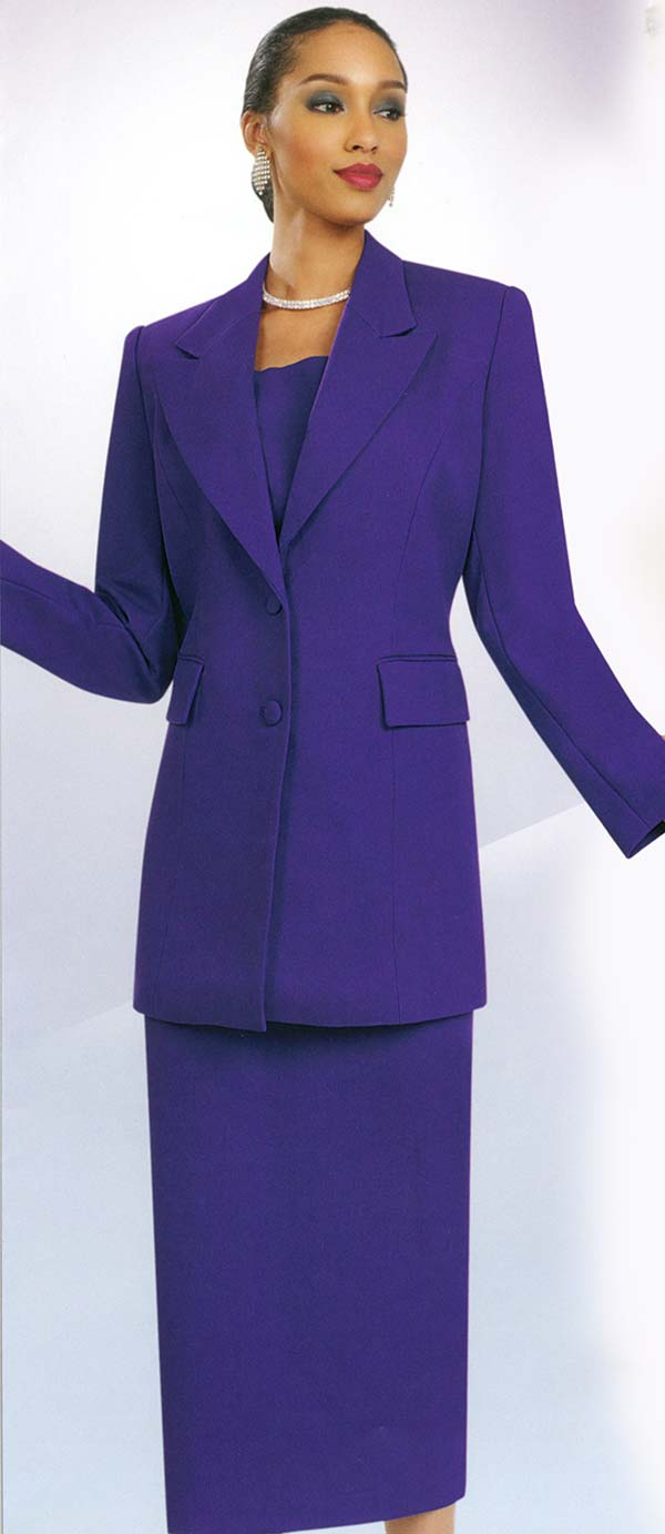 Ben Marc 2299-Purple - Ladies Skirt Suit With Peak Lapels