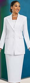 Ben Marc 2299-White - Usher Suit For Church With Peak Lapels