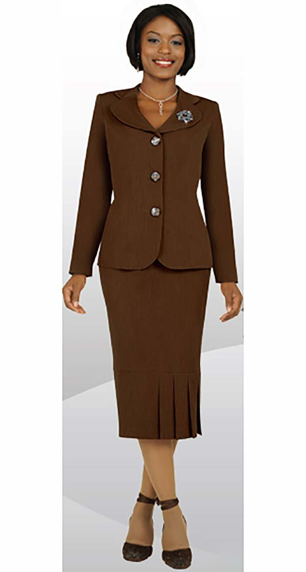 Ben Marc 78095-Chocolate - Modern Usher Suit For Women With Clover Lapels