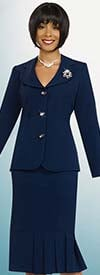 Ben Marc 78095-Navy - Modern Usher Suit For Women With Clover Lapels