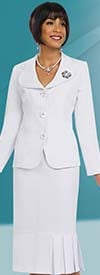 Ben Marc 78095-White - Modern Usher Suit For Women With Clover Lapels