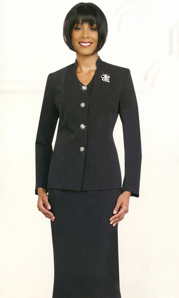 Ben Marc 78096-Black - Two Piece Modern Usher Suit For Women