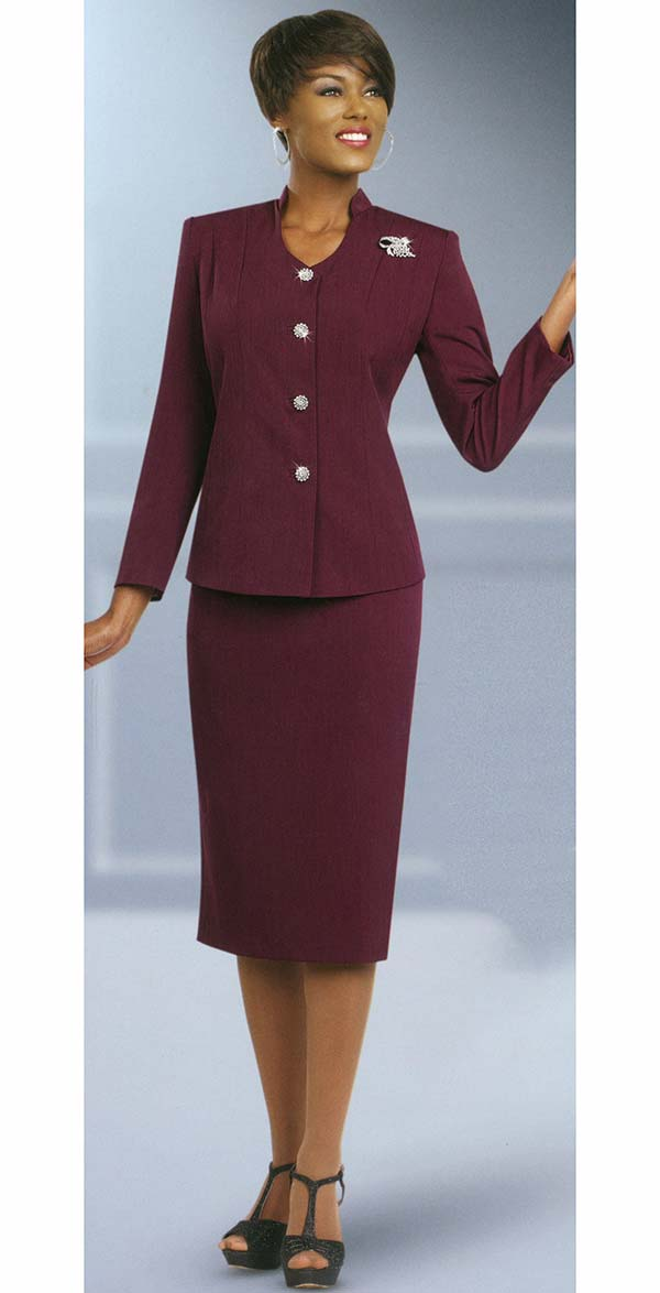 Ben Marc 78096-Burgundy - Two Piece Modern Usher Suit For Women