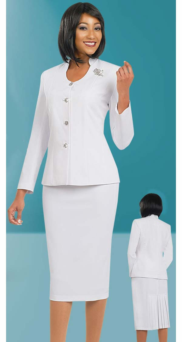 Ben Marc 78096-White - Two Piece Modern Usher Suit For Women