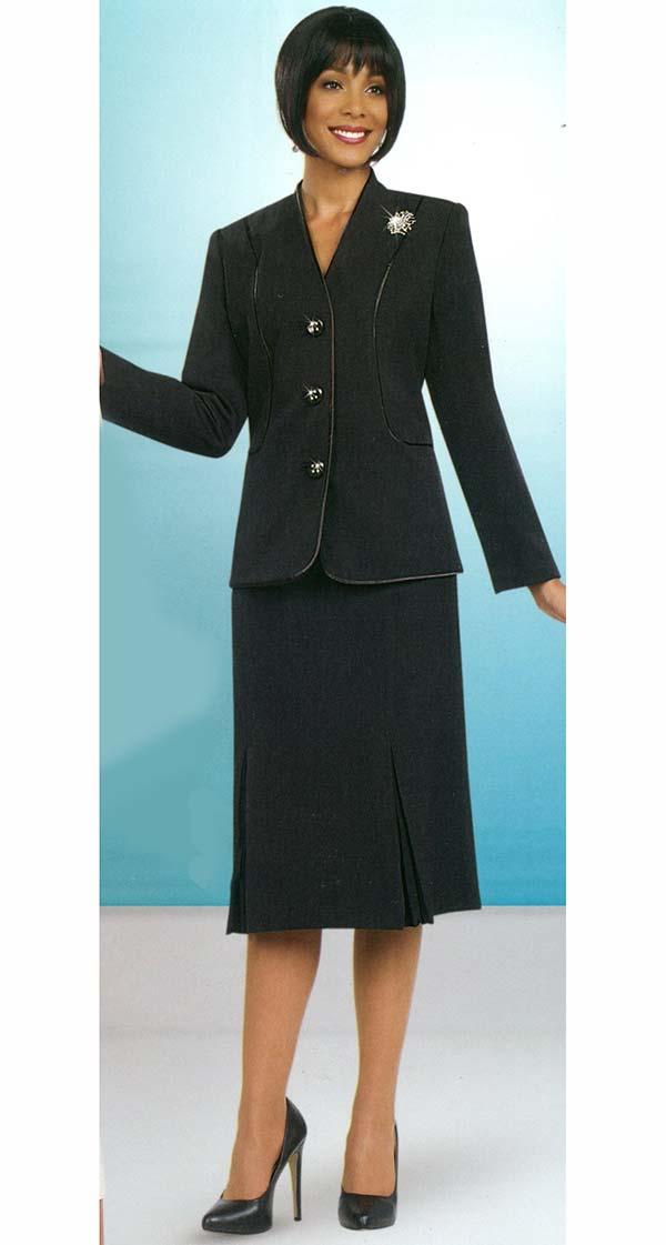 Ben Marc 78098-Black - Modern Usher Suit For Women With Godet Skirt