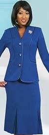 Ben Marc 78098-Royal - Modern Usher Suit For Women With Godet Skirt
