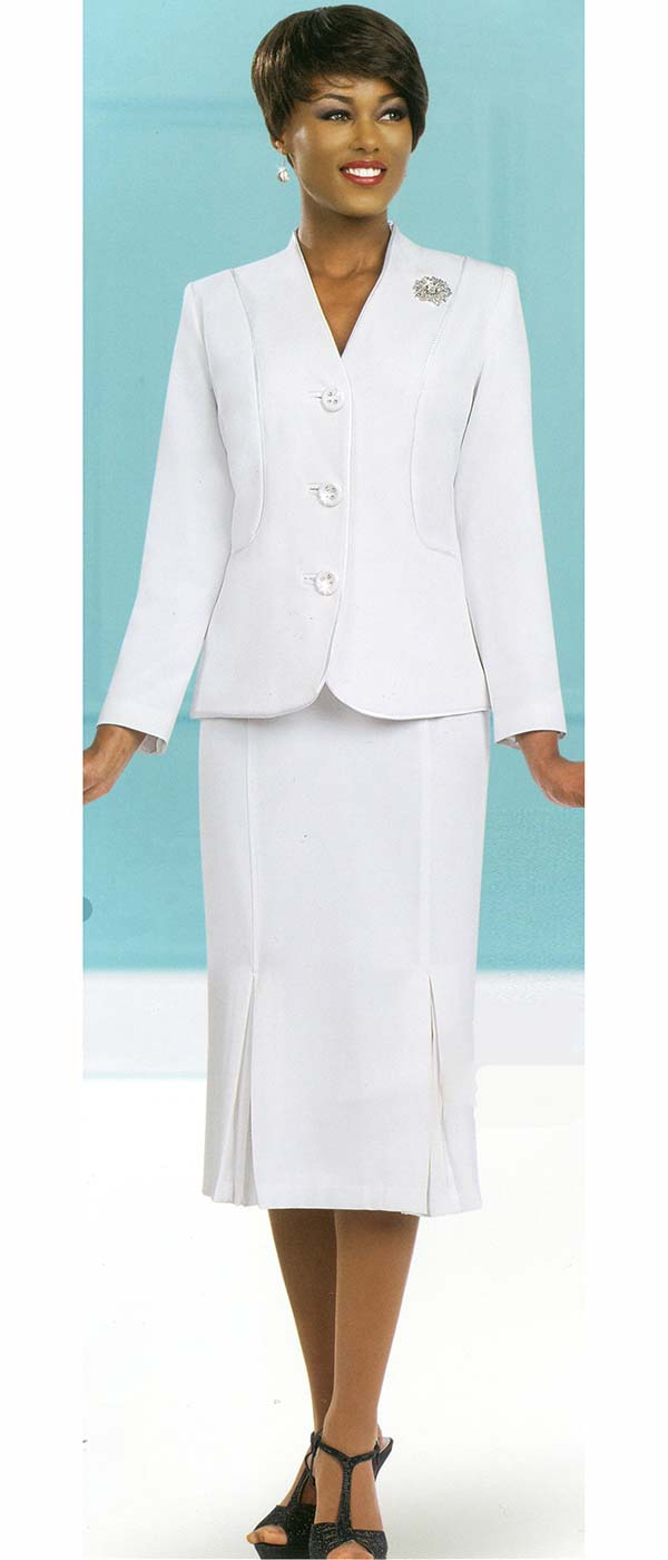 Ben Marc 78098-White - Modern Usher Suit For Women With Godet Skirt