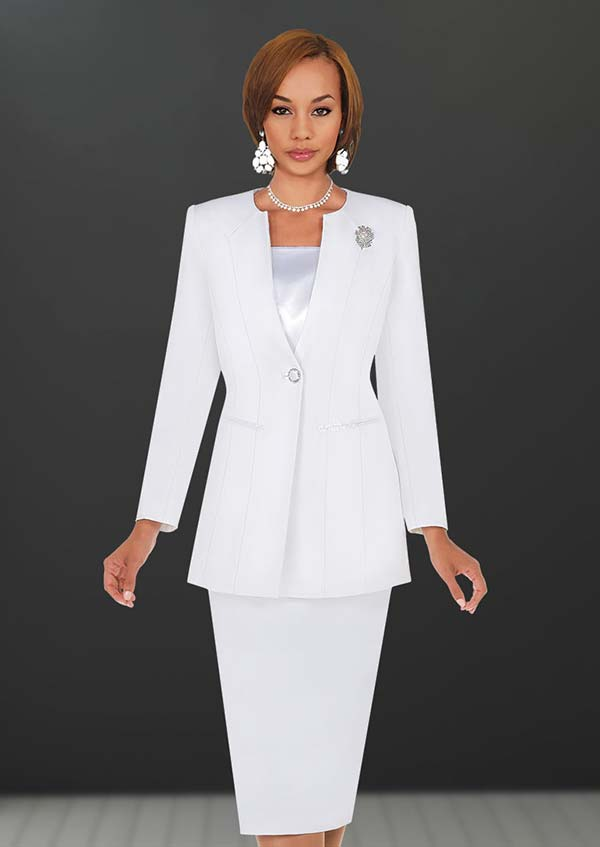 Ben Marc 78099-White - Modern Usher Suit For Women