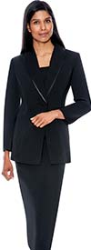 Clearance GMI G12272-Black - Size 12 - Two Piece Womens Usher Suit With Shawl Lapel