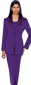Clearance GMI G12272-Purple - Size 10 - Two Piece Womens Usher Suit With Shawl Lapel