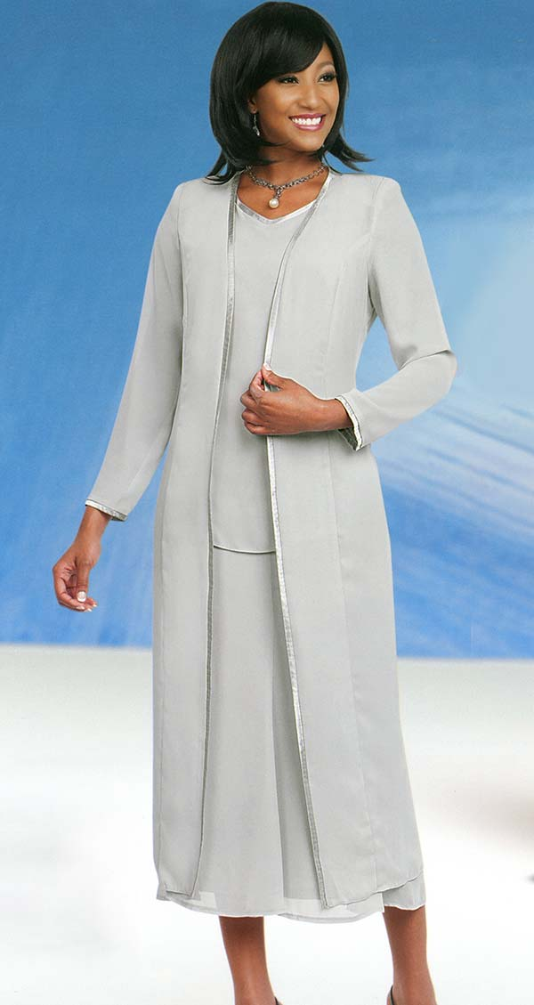 Misty Lane 13061-Silver - Three Piece Church Suit For Women