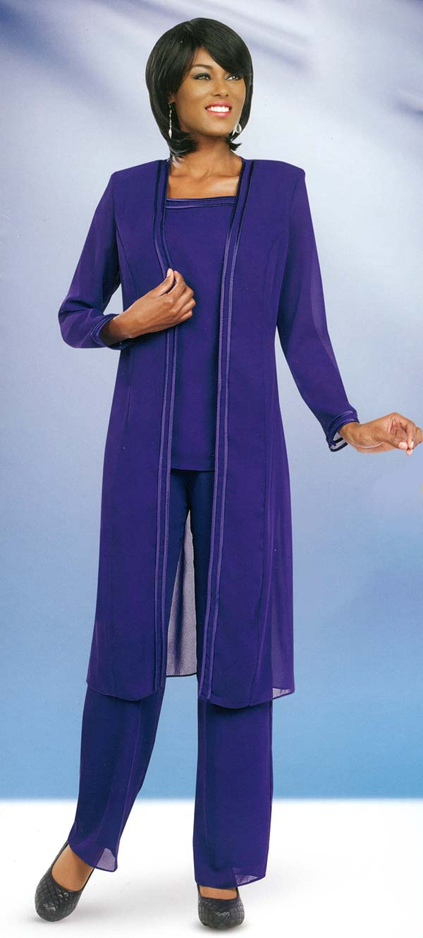 Misty Lane 13062-Purple - Three Piece Womens Pant Suit For Church Choir