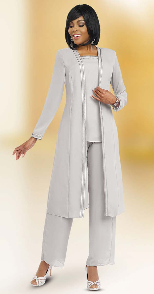 Misty Lane 13062-Silver - Three Piece Womens Pant Suit For Church Choir