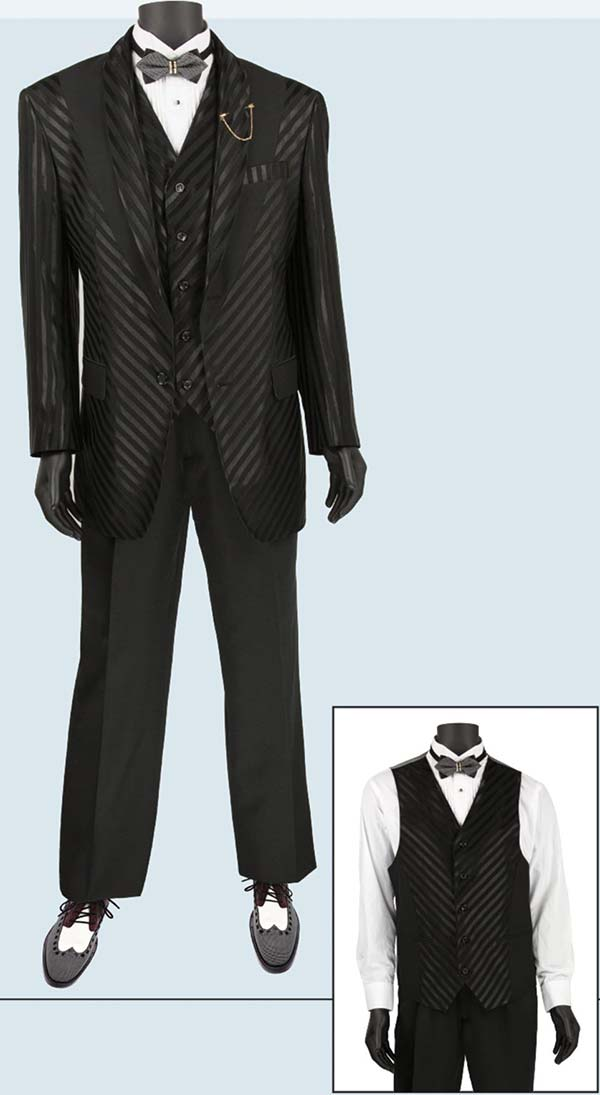 Vinci 23RS-9-Black - Fancy Polyester Three Piece Striped Mens Suit