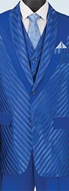 Vinci 23RS-9-Blue - Fancy Polyester Three Piece Striped Mens Suit
