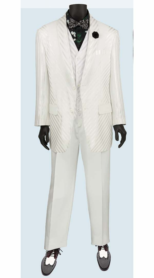 Vinci 23RS-9-White - Fancy Polyester Three Piece Striped Mens Suit
