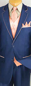 Vinci 23SS-4 Mens Sharkskin Suit With Tie & Hanky