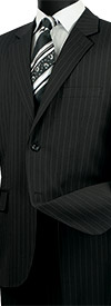 Vinci 2RS-16-Black -  Mens Single Breasted Two Button Fancy Striped Suit