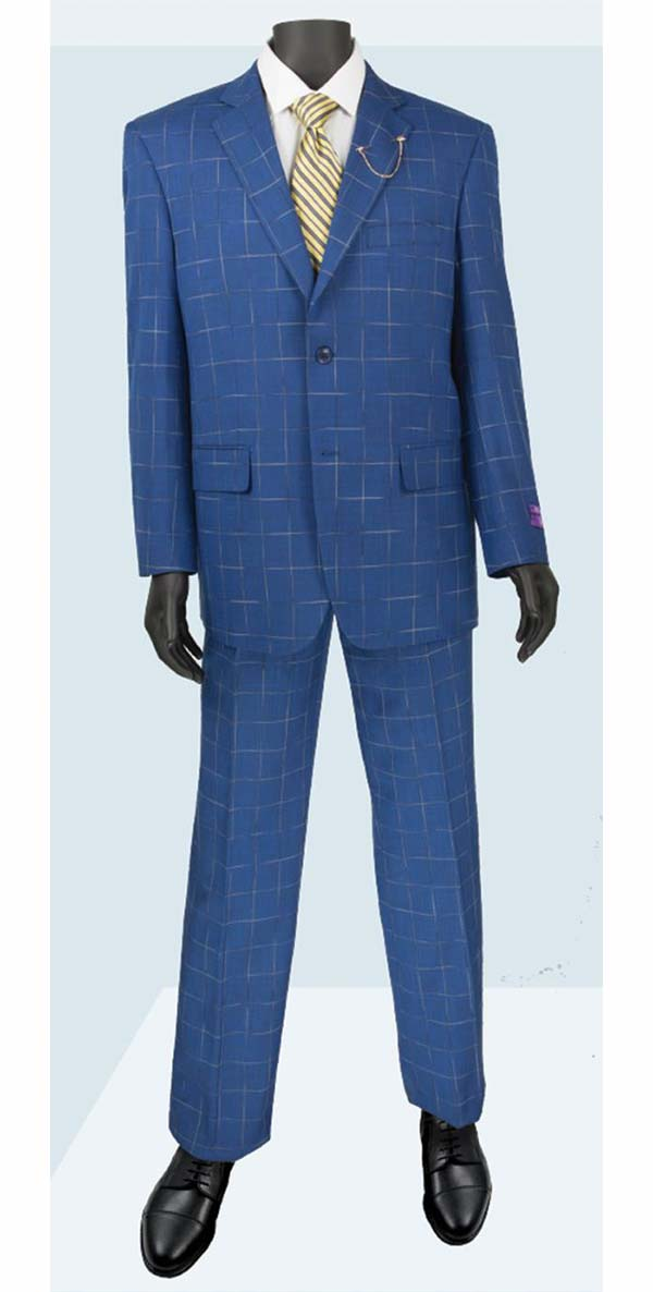 Vinci 2RW-4-Blue - Single Breasted Two-Button  Mens Window Pane Suit