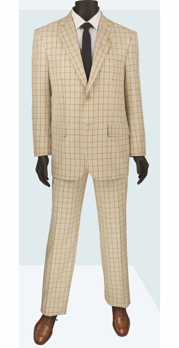 Vinci 2RW-5-Beige - Single Breasted Two-Button Glen Plaid Mens Suit