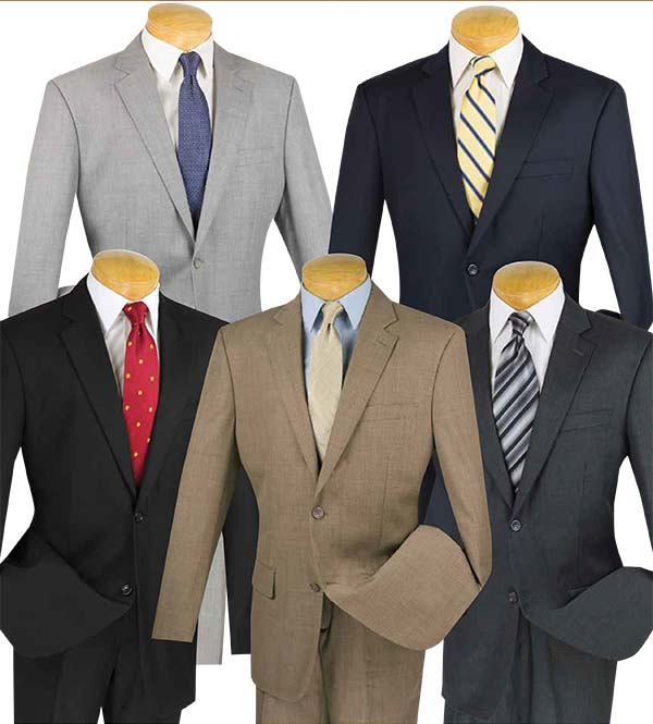Vinci 2W100 Mens Wool Suits For Church