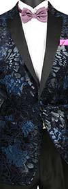 Vinci BS-12-Navy Slim Fit Floral Velvet Sport Coat With Sateen Peak Lapel