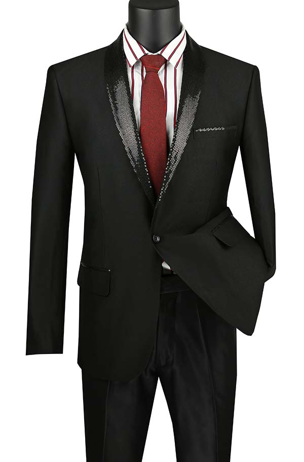 Vinci BSQ-3-Black Slim Fit Sharkskin Sport Coat With Sequin Shawl Lapel