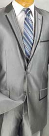 Vinci S2RR-4 Slim Fit Mens Shark Skin Suit With Notch Lapel