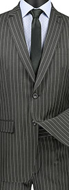 Vinci S2RS-10-Gray - Slim Fit Mens Classic Striped Suit With Notch Lapel