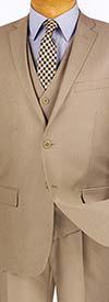 Vinci SV2R-3 Three-Piece Textured Solid Slim Fit Mens Suit