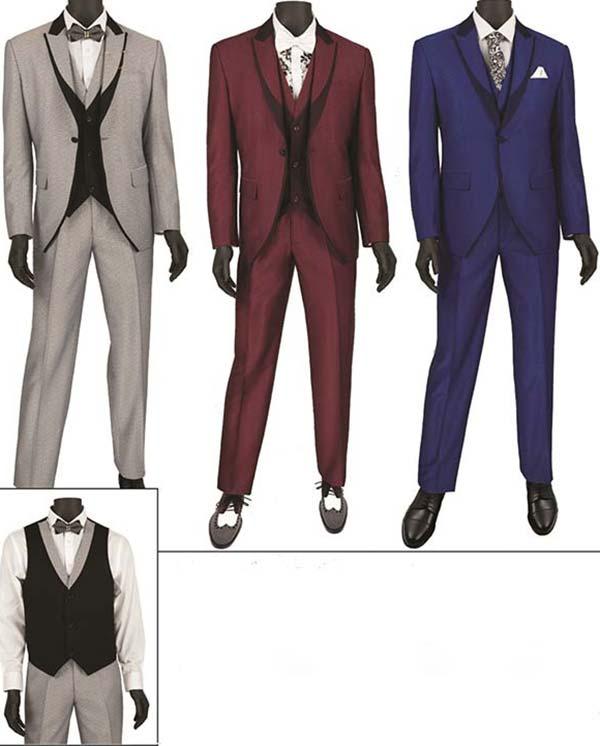 Vinci SV2R-5 Mens Slim Fit Wool Tuxedo With Peak Lapel